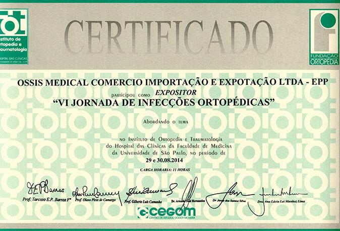 Certificado Ossis Medical referente à VI Jornada de Infecções Ortopédicas